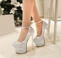 Women's Super High Heel 16 cm Waterproof Shoes diamond wedding shoes