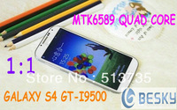 "HOT!In stock New arrive Real 1:1 Galaxy S4 phone MTK6589 Quad cores 5.0""1GB Ram 4GB Rom Android 4.2.9 I9500 phone case as gift"