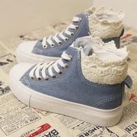 NEW !!! 2013 patchwork lace decoration light blue denim high lacing flat all-match canvas shoes