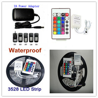 New Hot 5m/300leds RGB SMD 3528 Flexible Waterproof Led Strip Tape Light+24Key Remote +2A 24W 12V power for Home Decoration