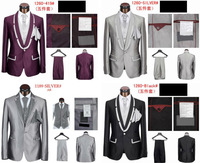 2014 hotsale high quality purple grey black tuxedo men suit party prom wedding suits for men free shipping size 4XL