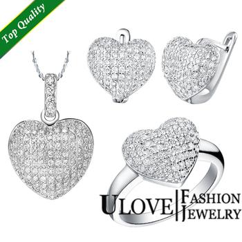 2014 Valentine's Silver Jewelry Sets Heart Love Micro Pave Zircon Silver Jewellry ...