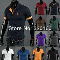 Free Shipping Men's Shirts Casual Slim Fit Stylish Short-Sleeve Shirt Cotton Mens T-shirt