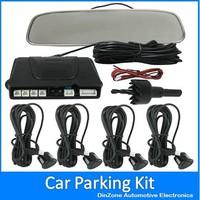 Car Reversing Parking System Kit With Mirror Monitor + 4 Backup Radar Sensors ! Free Shipping