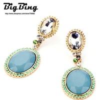 BigBing Fashion  fashion jewelry tianlan brief gem earrings stud earring  free shipping N505