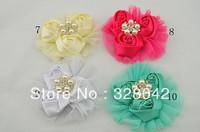 Free shipping girl princess satin rosettes flower brooch silk rose mesh Brilliant Pearl clip wedding hair accessories 100pcs/lot