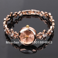 EB Free Shipping 2013 Hot Sales GF Fashion Elegant Yellow Gold Round Shape Rhinestone Ladies Watch