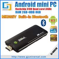 { SG&HK Post Freeshipping } Original MK802IV Rikomagic Mini pc Quad core Android 4.2 RK3188 2G DDR3 8G ROM Bluetooth HDMI dongle