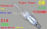 wholesale free shpping 6LED 5730SMD 6W E14 LED candle bulb light 540LM glass cover LED lighting
