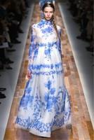 Free Shipping Now Arrive Fashion Catwalk Flower Vintage Print Blue Silk Maxi Dress Women