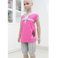 Free Shipping! children's wear for girl set with t-shirts and short pants size 4-14  0410K