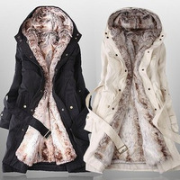 Hot Sale 2013 Faux fur Lining Women's Autumn Winter Warm Long Fur Big Size Plus Cotton Outerwear Coats Free Shipping