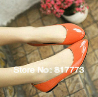 candy color single shoes japanned leather flat heel single shoes shallow mouth pointed toe women's shoes flat 8 colors