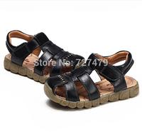 Wearable children cow leather sports cutout sandals fashion comfortable shoes child toe cap covering sandal size 21 - 36 A232