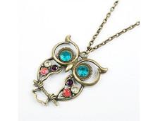 Fashion Bronze Cute Owl Necklace With Big Eye Pendant Vintage Rhinestone  Necklace