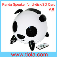 HI-FI Stereo Panda Speaker Heavy Bass Subwoofer for iphone/ipod/SD Card/MMC Card/USB Disk Free Shipping