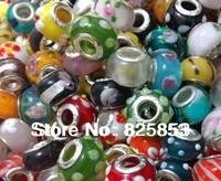 Free shipping  50pcs /LOT 14mm Multicolor mixed designsLAMPWORK Beads PANDORA Big Hole Fit LARCE HOLE Bracelets