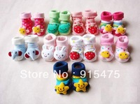 12Pcs=6Pairs/Free shipping Lovely Cartoon Baby Socks Anti Slip Cotton With Animal Unisex Slipper Shoes Newborn 0-12Month