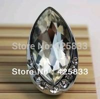 Hot Sale Fashion 10pcs Single Hole K9  Crystal & Zinc Alloy Furniture Pulls Cabinet Bright Moon Shape Chrome Drawer Knob