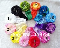 Retail Girls Baby Toddler Infant Headbands with Rhinestone Jewel Center Flower Clip Hair Accessories Headwear