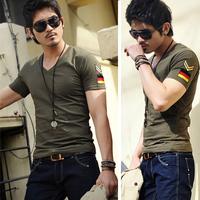 2014 new arrival men summer short-sleeved v-neck t-shirt male close-fitting slim casual tshirt German flag multi color M-3XL tee