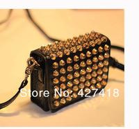 2013 fashion new handbags for womens high quality riveting designers PU genuine leather hobo girls shoulder bag drop shipping