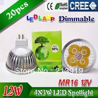 20X High Power Dimmable MR16 GU10 E27 B22 E14 GU5.3 4x3W 12W 9w  Spotlight Lamp 4 CREE LED 12V led  Light Bulb Downlight