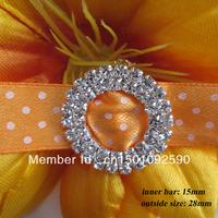(CM07 15mm innner bar) 50 pcs Double Round Silver Tone Diamante Rhinestone Buckle Chair Sash Ribbon Slider