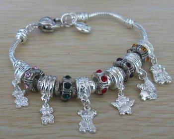 Fashion Jewelry 925 Sterling Silver Six Charm Pendant Bracelet fit Chamilia 7.5inch/19cm PXSL001