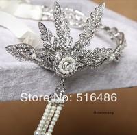 Hot !! The Great Gatsby DAISY Fashion Hair Accessories Crystals Pearl Tassels Hair Hoop,Wedding Bridal Tiara/ Hairwear/ Headband