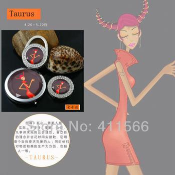Makeup mirror double faced Taurus Constellations 2PCS hook 1PCS   Handbag Folding Bag Purse Hook Hanger Holder Free shipping