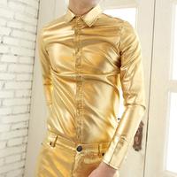 New Arrival Hot Selling Men's Long Sleeve Shirt ,Gold Bright Material Fashion Top Degisn Dress Shirts For Men ,Size M-8XL ~