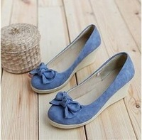 2013 bow round toe casual fashion gentlewomen wedges female shoes flat single shoes