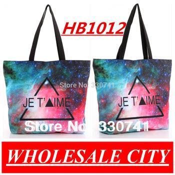 HOT!2013 Retro Galxy TrianglePrinting Female Students Handbag Shopping  Canvas  LAPTOP Ipad Recycle Totes HB012