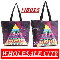 2013 British Retro Triangle Eyes Printing Female Students Handbag Shopping  Canvas  LAPTOP Ipad Recycle Totes HB016