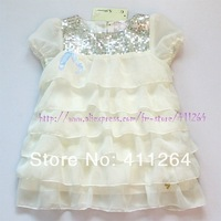 6pcs/lot(2-6Y) Wholesale Girls chiffon blouses hand-sequined tiered short-sleeved chiffon blouses cake dress Girls shirts