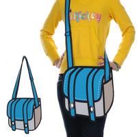 the second element explosion models cartoon bag camera bag blue 3D stereo effect Shoulder Messenger bag Korean female bag