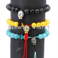 8mm Tibetan Style Wrist Mala Blue/Yellow Jade or Black Onyx Beads Metal Buddha Bracelet (5 pieces/lot)