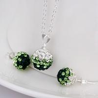 Latest 925 silver Shamballa Charm Beads Austrian Crystal Necklace Earrings Set with Rhinestones Shambhala Fashion Jewelry S055