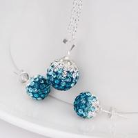 Shamballa Charm Beads Austrian Crystal Balls Necklace Earrings Set with Rhinestones Shambhala Fashion Jewelry S053