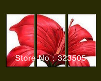 abstract  3 piece canvas wall  art  cheap red flower oil paintings on canvas picture on the wall  free shipping