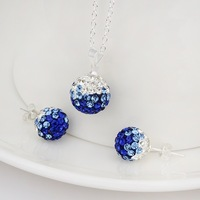 Shamballa Charm Beads Austrian Crystal Balls Necklace Earrings Set with Rhinestones Shambhala Fashion Jewelry S054