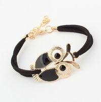 2014 New Fashion PU Leather Bracelets Hawks Eagle Women Casual Leather Charms Bracelets Bangles for Women Ladies Bracelets Black