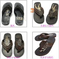 Hot Sale 2013 Brand New Summer Fashion Men's Slippers High Quality Genuine Leather Flip Flops 4 Colors Casual Beach Sandals