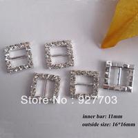 (CM40 11mm innner bar) 100 pcs Square Crystal Rhinestone Buckle Invitation Ribbon Slider