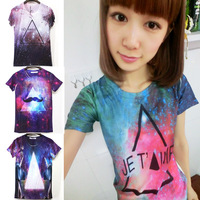 2013 Fashion Women/men crown print galaxy Top short sleeve o-neck skull Beaty 3D t shirt Top tee Freeshipping