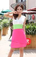 Summer ol elegant fashion gentlewomen women's patchwork slim hip slim one-piece dress