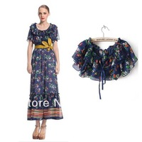 On sale hot high quality Women's 2013 fashion removable ruffle cape chiffon one-piece dress full dress suspender skirt