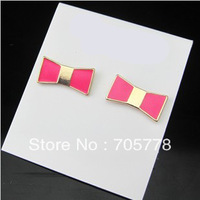 10pairs New Arrival 2013 Fashion Jewelry for Women Bowknot Stud Earrings Wholesale Free Shipping Black Pink Green White colors