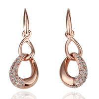 18k Gold Plated Earring High Quality Rhinestone Crystal Earrings Wholesale Fashion Jewelry Free Shipping 18krgpe069